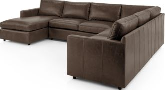 Barrett Leather 4-Piece Left Arm Chaise Sectional(Left Arm Chaise, Armless Loveseat, Corner, Right Arm Apartment Sofa) shown in Libby, Storm