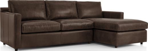 Barrett Leather 2-Piece Right Arm Chaise Sectional(Left Arm Apartment Sofa, Right Arm Chaise) shown in Libby, Storm