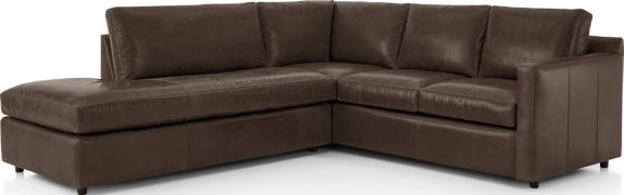 Barrett Leather 2-Piece Left Bumper Sectional(Left Bumper, Right Arm Corner Sofa) shown in Libby, Storm