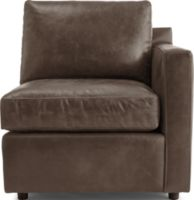 Barrett Leather Right Arm Chair shown in Libby, Storm