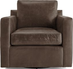 Barrett Leather Track Arm Swivel Chair shown in Libby, Storm