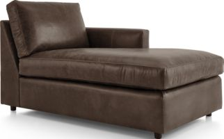 Barrett Leather Right Arm Chaise shown in Libby, Storm