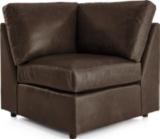 Barrett Leather Corner Chair shown in Libby, Storm