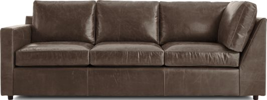 Barrett Leather Left Arm Corner Sofa shown in Libby, Storm