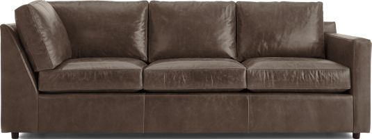 Barrett Leather Right Arm Corner Sofa shown in Libby, Storm