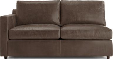 Barrett Leather Left Arm Full Sleeper with Air Mattress shown in Libby, Storm