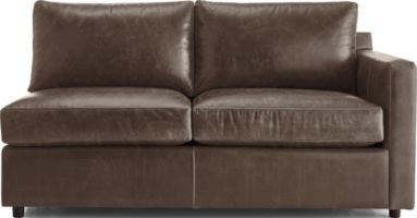 Barrett Leather Right Arm Full Sleeper with Air Mattress shown in Libby, Storm