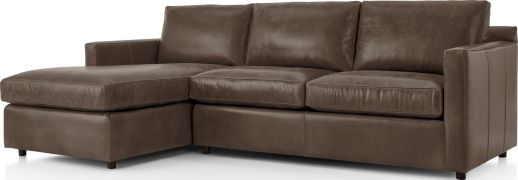 Barrett Leather 2-Piece Left Arm Chaise Sectional(Left Arm Chaise, Right Arm Apartment Sofa) shown in Libby, Storm