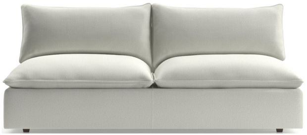 Lotus Modular Armless Low Loveseat shown in Nordic, Frost