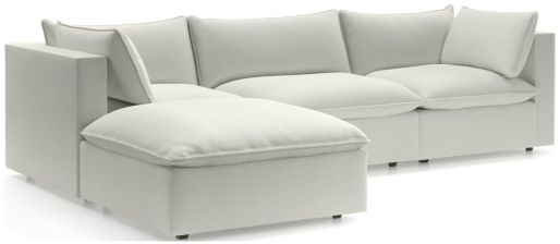 Lotus 4-Piece Reversible Sectional with Ottoman shown in Nordic, Frost