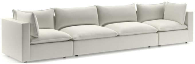 Lotus Modular 3-Piece Extra Long Low Sofa Sectional(Corner, Armless Loveseat, Corner) shown in Nordic, Frost