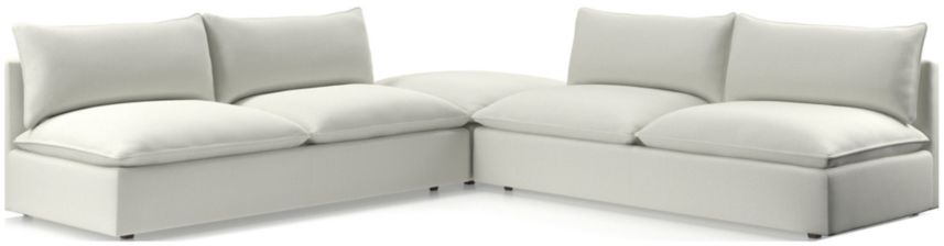 Lotus Modular 3-Piece Low Sectional(Armless Loveseat, Cocktail Ottoman, Armless Loveseat) shown in Nordic, Frost