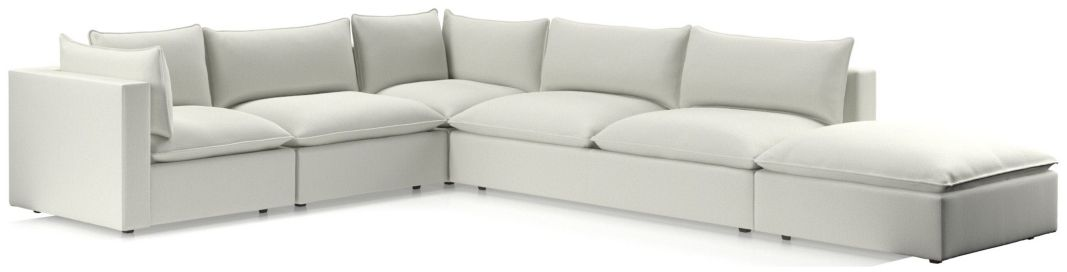 Lotus Modular 5-Piece Low Sectional(Corner, Armless Chair, Corner, Armless Loveseat, Ottoman) shown in Nordic, Frost
