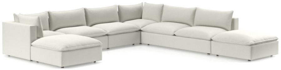 Lotus Modular 7-Piece Low Sectional(Ottoman, Corner, 2x Armless Chairs, Corner, Armless Loveseat, Ottoman) shown in Nordic, Frost