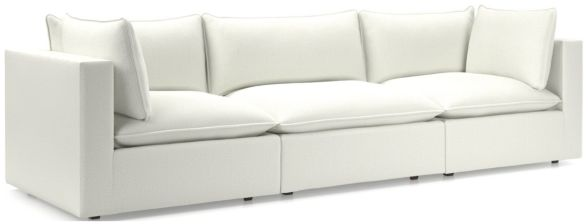 Lotus Modular 3-Piece Low Sofa Sectional(Corner, Armless Chair, Corner) shown in Nordic, Frost