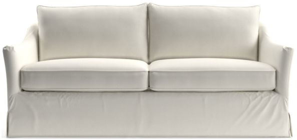 Keely Slipcovered Apartment Sofa shown in Newport, Salt