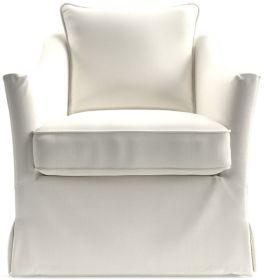 Keely Slipcovered Swivel Chair shown in Newport, Salt