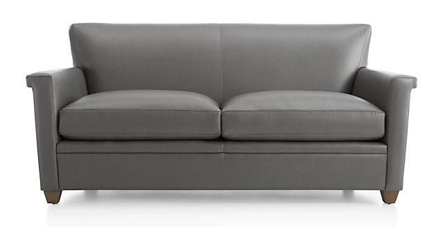 Declan Leather Apartment Sofa shown in Lavista, Slate