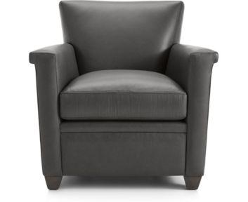 Declan Leather Chair shown in Lavista, Slate