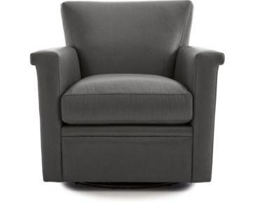 Declan Leather 360 Swivel Chair shown in Lavista, Slate