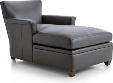 Declan Leather Chaise shown in Lavista, Slate