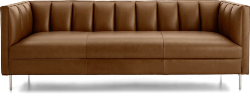 TAP TO ZOOM Chloe Leather Sofa Shown In Logan, Whiskey