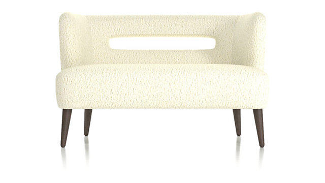 Mimi Vegan Lambskin Settee shown in Lammy, Winter White