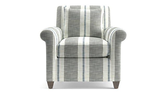 Cortina Chair shown in Winward Stripe, Storm