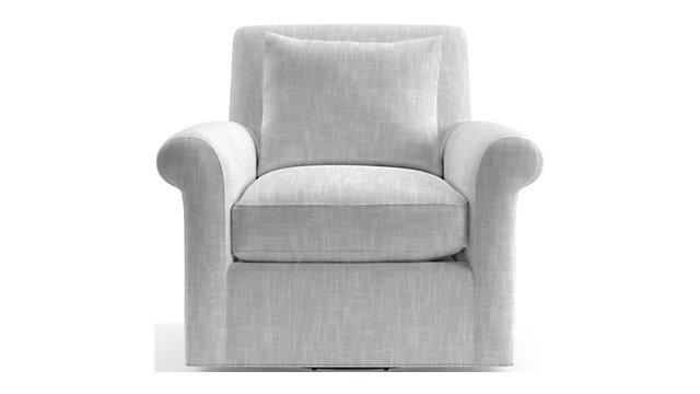 Cortina Swivel Chair shown in Winward, Snow