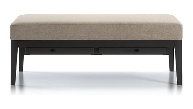 Nash Rectangular Ottoman with Tray shown in Synergy, Oatmeal