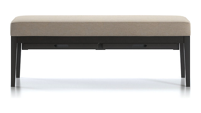 Nash Small Bench with Tray shown in Synergy, Oatmeal