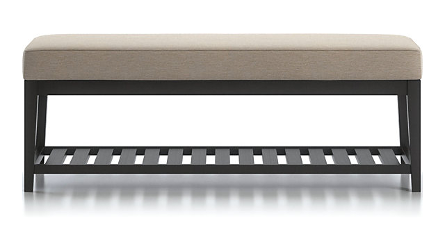 Nash Small Bench with Slats shown in Synergy, Oatmeal