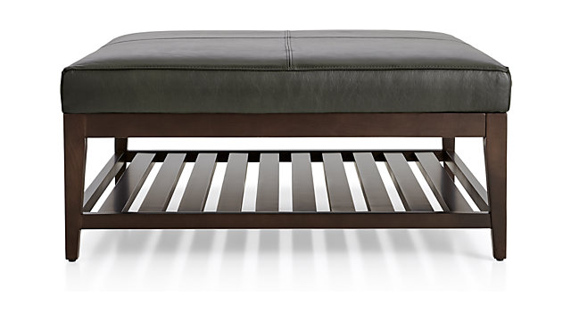 Nash Leather Square Ottoman with Slats shown in Logan, Slate