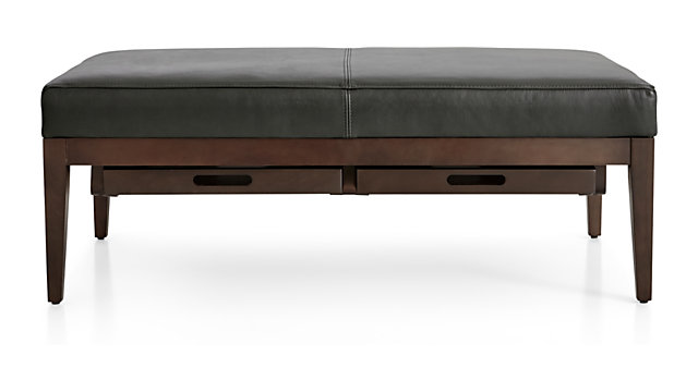 Nash Leather Rectangular Ottoman with Tray shown in Logan, Slate