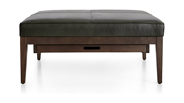Swell Nash Leather Square Ottoman With Tray Ibusinesslaw Wood Chair Design Ideas Ibusinesslaworg