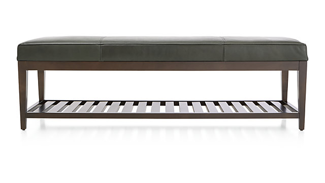 Nash Leather Large Bench with Slats shown in Logan, Slate