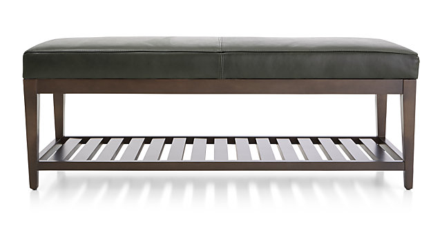 Nash Leather Small Bench with Slats shown in Logan, Slate