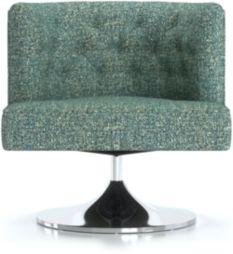 Grayson Tufted Swivel Chair shown in Twilight, Agean