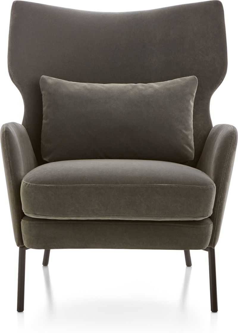 Picture of: Alex Grey Velvet Accent Chair Reviews Crate And Barrel