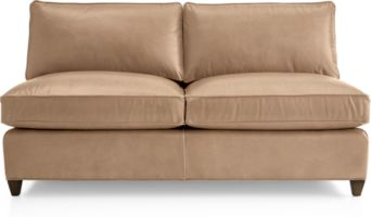 Dryden Leather Armless Loveseat shown in Libby, Mushroom