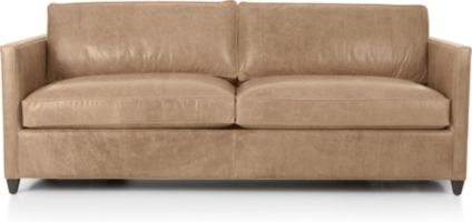 Dryden Leather Queen Sleeper Sofa shown in Libby, Mushroom