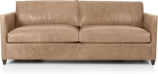 Dryden Leather Queen Sleeper Sofa with Air Mattress shown in Libby, Mushroom