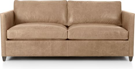 Dryden Leather Apartment Sofa shown in Libby, Mushroom