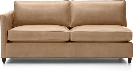 Dryden Leather Left Arm Apartment Sofa shown in Libby, Mushroom