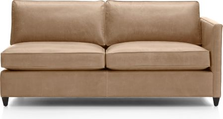 Dryden Leather Right Arm Apartment Sofa shown in Libby, Mushroom