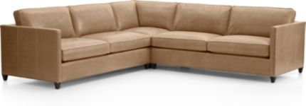 Dryden Leather 3-Piece Sectional(Left Arm Apartment Sofa, Corner, Right Arm Apartment Sofa) shown in Libby, Mushroom