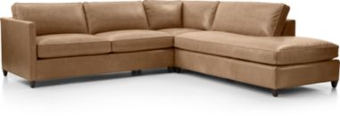 Dryden Leather 3-Piece Right Bumper Sectional(Left Arm Apartment Sofa, Corner, Right Bumper) shown in Libby, Mushroom