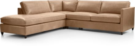 Dryden Leather 3-Piece Left Bumper Sectional(Left Bumper, Corner, Right Arm Apartment Sofa) shown in Libby, Mushroom