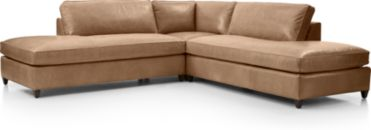 Dryden Leather 3-Piece Two Bumper Sectional(Left Bumper, Corner, Right Bumper) shown in Libby, Mushroom