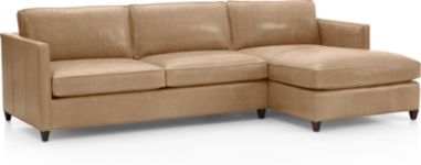 Dryden Leather 2-Piece Right Arm Chaise Sectional(Left Arm Apartment Sofa, Right Arm Chaise) shown in Libby, Mushroom
